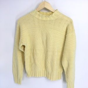Vintage Yellow Mock Neck Knitted Sweater